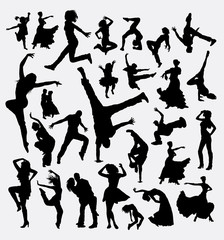 Dance man and women bundle silhouette 4. Good use for symbol, web icon, logo, mascot, sticker, sign, or any design you want. Easy to use.