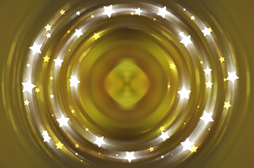 Abstract fractal golden background with crossing circles.
