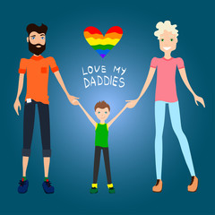 Gay Family Vector Illustration with Two Guys Being in Love, a Kid and Holding Hands, Flat Design