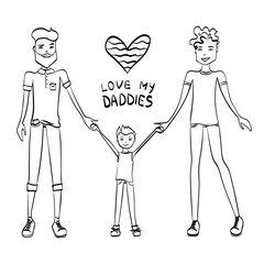 Gay Family Vector Illustration with Two Guys Being in Love, a Kid and Holding Hands, Sketch