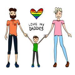 Gay Family Vector Illustration with Two Guys Being in Love, a Kid and Holding Hands, Colorful Sketch