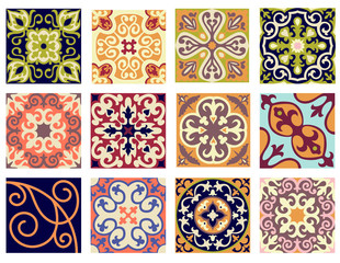 Garden Poster Moroccan Tiles Vintage retro ceramic tile pattern set.