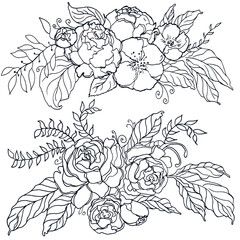 Vector illustration of a floral border flowers.