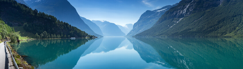Printed roller blinds Scandinavia Lovatnet lake, Norway, Panoramic view