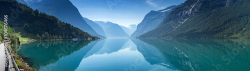 Fototapete Lovatnet lake, Norway, Panoramic view