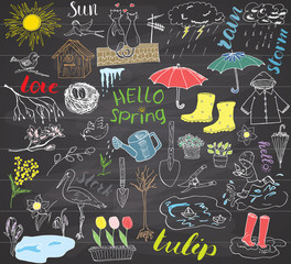 Spring season set doodles elements. Hand drawn sketch set with umbrella, rain, rubber boots, raincoat, flovers, garden tools, nest and birds. Drawing doodle collection, on chalkboard