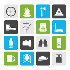 Flat Tourism and Holiday icons -  Vector Icon Set