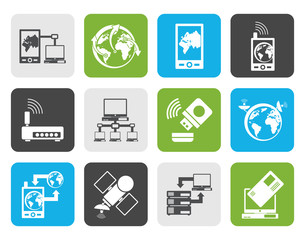 Flat communication, computer and mobile phone icons - vector icon set