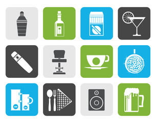 Flat Night club, bar and drink icons - vector icon set