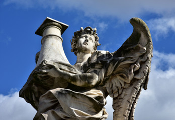 Angel with Column look at the heaven, from Sant'Angelo bridge in Rome