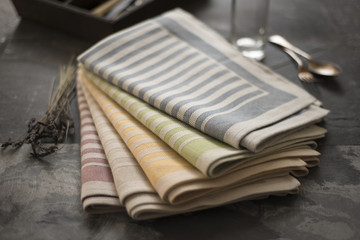 Folded Table Napkins with Stripe Designs Various Colors