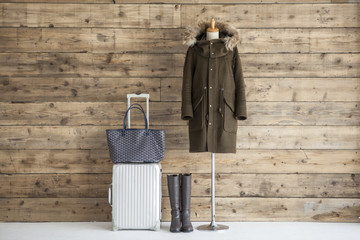 Carry bag, boots, coat