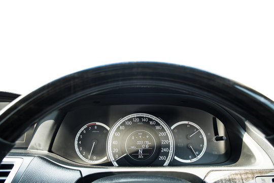 Close-up steering wheel of modern car, selective focus