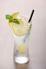 Cold fresh lemonade with lemon