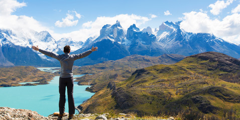 man hiking in patagonia