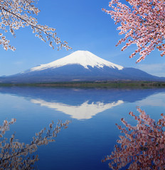 Photo sur Aluminium Reflexion Mt.Fuji with water reflection at Lake Yamanaka, Japan