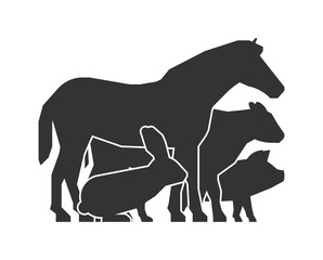Farmers market logo. Black farm animals icon.
