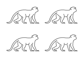 Vector outline monkey. Line silhouette monkey.
