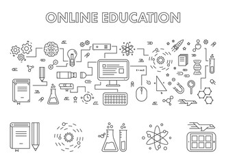 Vector line design concept web banner for online education.