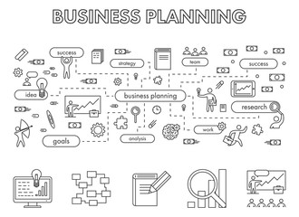 Vector line design concept web banner for business planning.