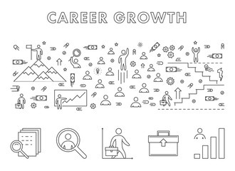 Vector line design concept web banner for career growth.