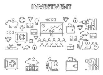 Vector line design concept web banner for investment.
