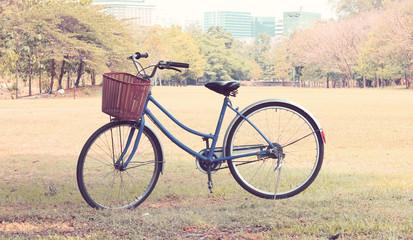 Vintage bicycle waiting near tree, in vintage retro tone