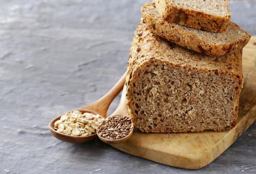rye wholemeal bread with flax seed and oatmeal