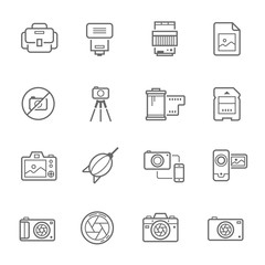 Lines icon set - camera and accessory vector illustration