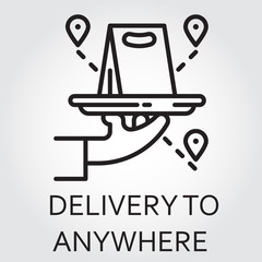 Black flat Line vector icon with a picture of delivery to anywhere on white background.