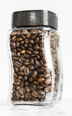 Jar with coffee grains