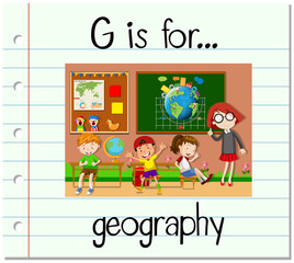 Flashcard letter G is for geography