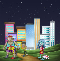 Three zombies walking in the park at night
