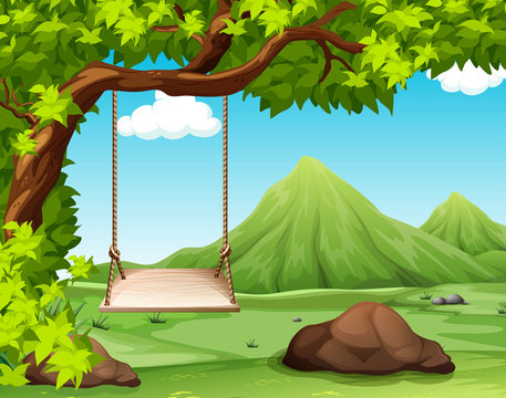 Nature scene with swing on the tree