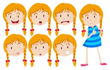 Girl with blond hair with many facial expressions