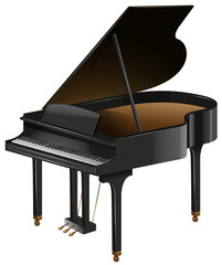 Grand piano with the top opened
