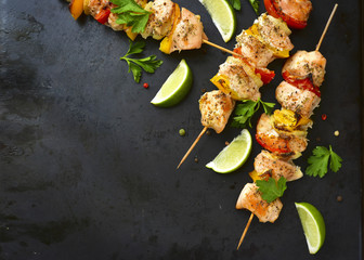 Grilled chicken kebab.