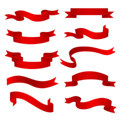 Set of ten realistic red ribbons. Vector illustration, eps 10