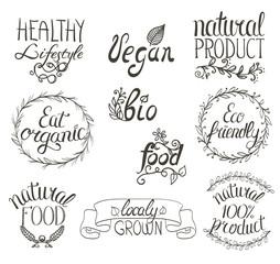 Organic, vegan, eco, bio natural food hand written sign