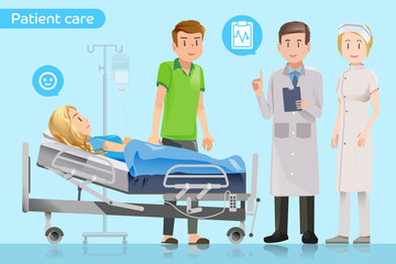 Doctors explain the treatment to the patient.Visit patients in hospitals.Encouragement of healing.Care after surgery.Patients have to stay in hospital.Support for patients.Graphic design and EPS 10.