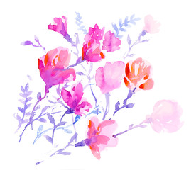vector watercolors colorful flowers