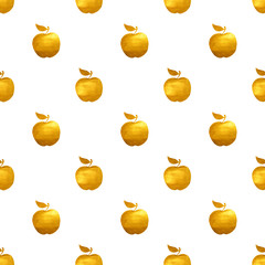 Seamless pattern with golden hand-painted apples on white background