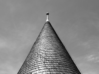 Architectural detail of conical roof