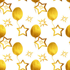 Seamless pattern with hand-painted golden pearly balloons and stars on white background