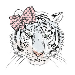 Vector tigress with a bow. Greeting card with a tiger. Girl. Hipster.