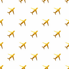 Seamless pattern with golden hand-painted airplanes on white background