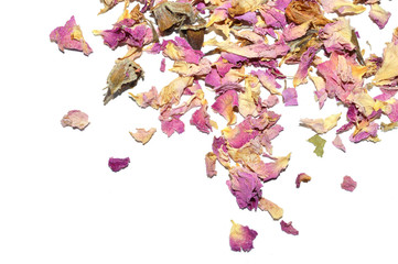 Scattered dried petals of tea rose on white background with place for your text