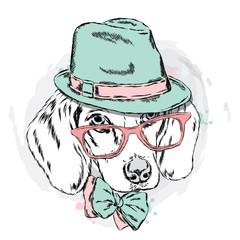 Cool dog with hat and glasses. Dog vector. Cute puppy.