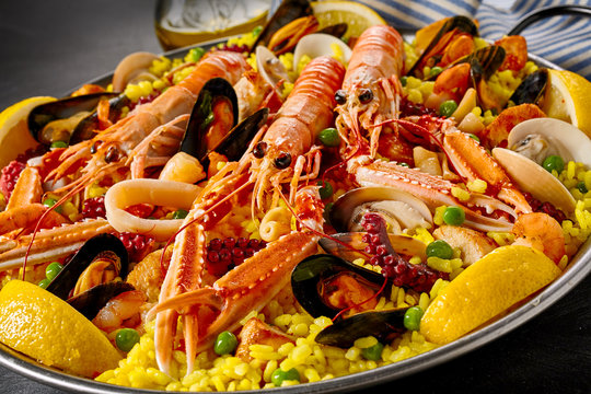 Gourmet seafood paella with fresh langoustines