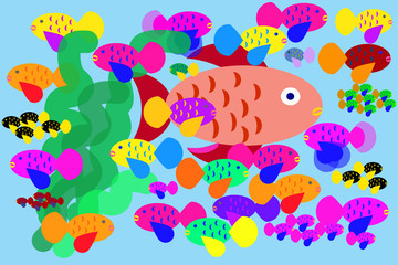 An aquarium crowded of too many coloured fishes